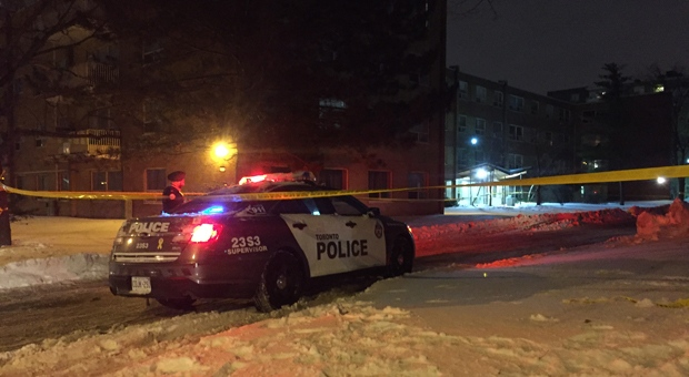 Police are investigating a fatal shooting outside a townhouse complex in Rexdale. (Mike Nguyen/ CP24)