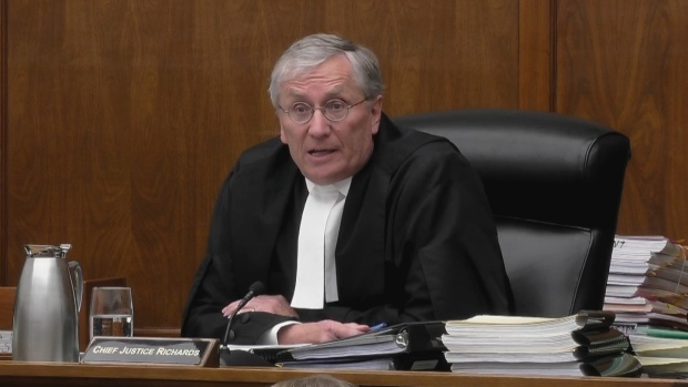 Chief Justice Robert Richards presides over the Saskatchewan Court of Appeal in Regina, Wednesday, Feb.13, 2019. (THE CANADIAN PRESS/HO-CBC)
