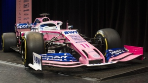 SportPesa Racing Point F1's car at the Canadian International AutoShow in Toronto, on Feb. 13, 2019. (Chris Young / THE CANADIAN PRESS)