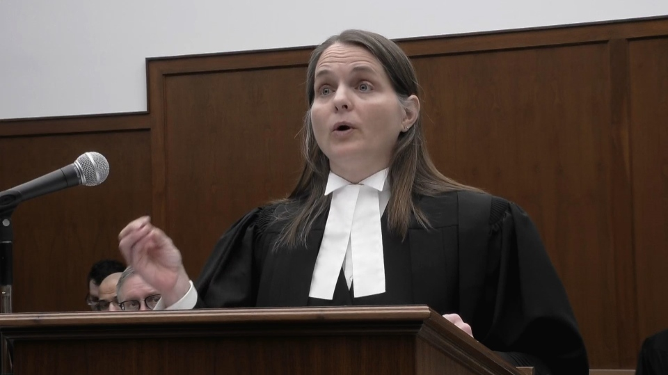 In this image grab, Sharlene Telles-Langdon, a lawyer for the Attorney General of Canada, addresses the Saskatchewan Court of Appeal in Regina, Thursday, Feb.14, 2019. Telles-Langdon says greenhouse gases cannot be distinguished from province to province once they are emitted into the air.THE CANADIAN PRESS/CBC)
