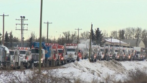 A convoy of at least 100 trucks is driving from Alberta to Parliament Hill to draw attention to what it says is Ottawa's lack of support for the energy sector.