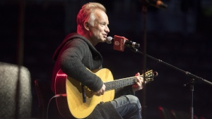 "Sting performs the song ""Message in a Bottle,"" before being joined by the cast of his musical ""The Last Ship"" to perform in support of General Motors workers in Oshawa, Ont. on Thursday, February 14, 2019. (THE CANADIAN PRESS/Chris Young)"