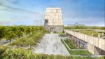 This illustration released on May 3, 2017 by the Obama Foundation shows plans for the proposed Obama Presidential Center with a museum, rear, in Jackson Park on Chicago's South Side. (Obama Foundation via AP)