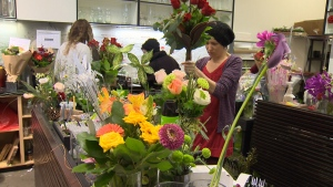 The usual last-minute scramble at Vancouver Island florist shops was made more difficult by recent snowstorms. Feb. 14, 2019. (CTV Vancouver Island)