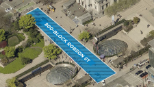 The temporary plaza at Robson Square is becoming a permanent public space following a Feb. 13, 2019 city council vote. (City of Vancouver)