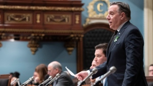 Quebec Premier Francois Legault responds to the Opposition during question period, Tuesday, February 12, 2019 at the legislature in Quebec City. (THE CANADIAN PRESS/Jacques Boissinot)