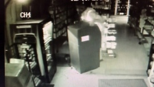 Surveillance camera video captured in Langford, B.C. shows the theft of an ATM from a convenience store.