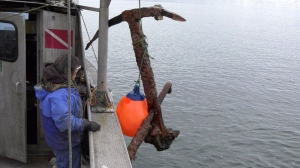 Richard Hamer and his team raised the anchor on Thursday, and may donate it to a museum if it's of historic significance. Thursday, Feb. 14, 2019. (CTV Vancouver Island)