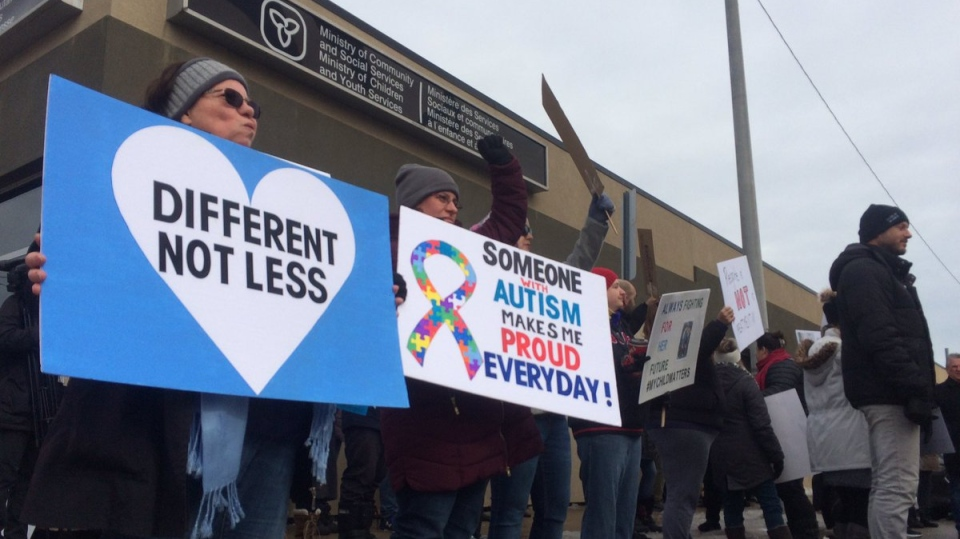 About 100 parents protest changes to autism services in Ontario during a rally in Windsor on February 14, 2019. ( Michelle Maluske / CTV Windsor )