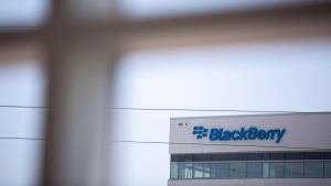 The Blackberry logo located in the front of the company's C building in Waterloo, Ont. on May 29, 2018. (THE CANADIAN PRESS/Andrew Ryan)