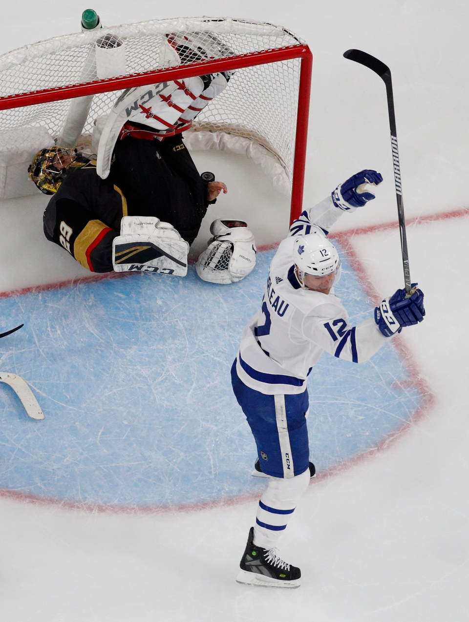 Toronto Maple Leafs center Patrick Marleau (12) celebrates after scoring  against Vegas Golden Knights goaltender Marc-Andre Fleury (29) during the  second ... 39e80e5f7