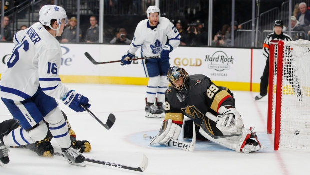 c6928c2f9 Toronto Maple Leafs right wing Mitchell Marner (16) scores against Vegas  Golden Knights goaltender Marc-Andre Fleury (29) during the third period of  an NHL ...