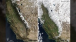 New before-and-after NASA photos – taken a year apart -- reveal how snow has covered the Sierra Nevada mountain range in California. NASA Earth Observatory images by Joshua Stevens, using MODIS data from NASA EOSDIS/LANCE and GIBS/Worldview.