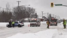 Snowmobile crash involving a transport in Sudbury (Molly Frommer/CTV Northern Ontario)