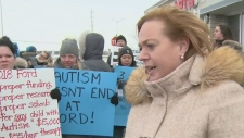 Autism protest outside MacLeod's office