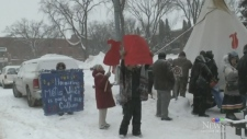 Braving the snow for a memorial march