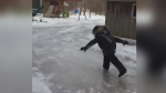 Raw: Six-year-old skates down Bayfield-area lane