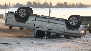 Truck rollover on Whitemud Drive under the Anthony Henday overpass.
