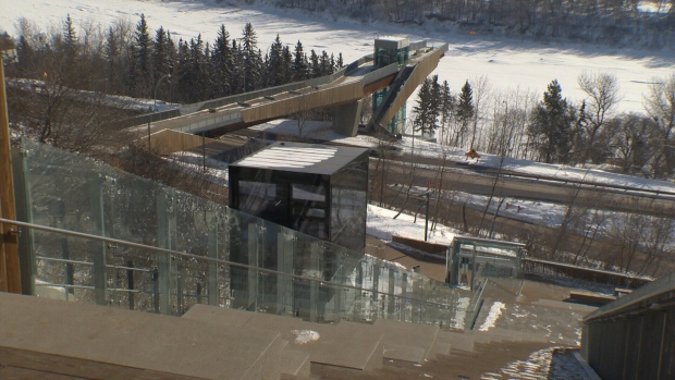 Funicular in Edmonton's River Valley.