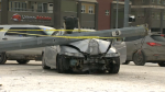 A car smashed into a pole near 14 Street and 6 Avenue N.W. on Friday morning.