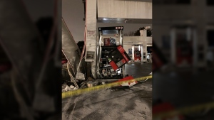 A damaged gas pump is seen at a Victoria Petro-Canada station, Thursday, Feb. 14, 2019. (Dale Oakes)