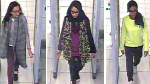 This Feb. 23, 2015 file handout of a three image combo of stills taken from CCTV issued by the Metropolitan Police shows Kadiza Sultana, left, Shamima Begum, centre, and Amira Abase going through security at Gatwick airport in England, before catching a flight to Turkey. (Metropolitan Police via AP)