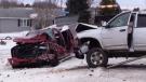 A head-on crash closed North Line near Seaforth, Ont. on Friday, Feb. 15, 2019. (Scott Miller / CTV London)