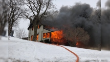 A home in Wellesley caught fire and was completely destroyed on Friday. (Courtesy: Wellesley Fire)