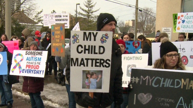 Parents protest over provincial funding for autism services