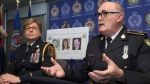 Kingston Police Chief Antje McNeely and Detective Inspector Jim Gorry speak about three cold case victims Henrietta Knight, Richard Kimball and Stephen St. Denis at a press conference in Kingston, Ont. on Friday Feb. 15, 2019. (THE CANADIAN PRESS/Lars Hagberg)