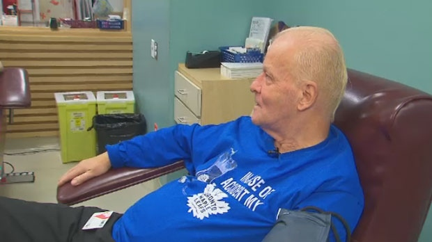 Skip McWatters makes his 800th donation at the Canadian Blood Services.