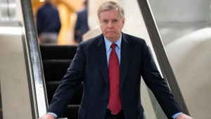Senate Judiciary Committee Chairman Lindsey Graham, R-S.C., an ally of U.S. President Donald Trump, leaves the Senate after voting to confirm William Barr to be attorney general, on Capitol Hill in Washington, Thursday, Feb. 14, 2019. (AP Photo/J. Scott Applewhite)