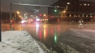 A water main break caused flooding in the area of 109 Street and 104 Avenue on Friday night.