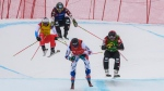 Alex Fiva, left, of Switzerland; Kevin Drury, center left, of Canada; Francois Place, center right, of France; and Brady Leman, right, of Canada, compete in the final heat of the men's ski cross event at the freestyle ski and snowboard world championships Saturday, Feb. 2, 2019, in Solitude, Utah. (AP Photo/Alex Goodlett)
