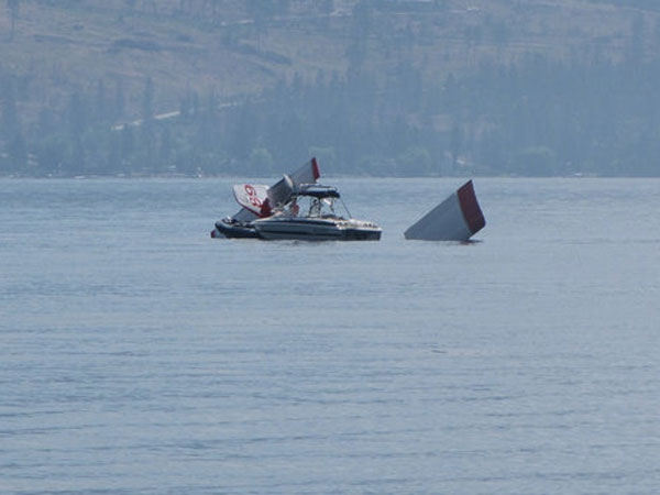The submerged wings and tail of a Conair airtanker which plunged into Okanagan Lake on Saturday. (Castanet) July 25th, 2009.