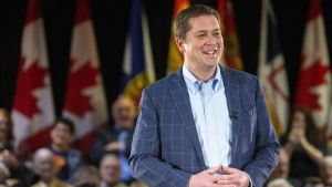 Federal Conservative Leader Andrew Scheer delivers remarks at a town hall event in Fredericton on Monday Feb. 11, 2019. THE CANADIAN PRESS/James West