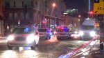 Just before 9 p.m. on Friday night, a car travelling west on Wellington St. struck a pedestrian while he was crossing the street. (CTV Montreal)