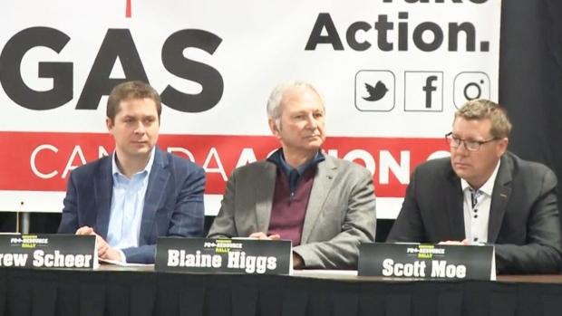 Sask. Premier Scott Moe, Conservative Leader Andrew Scheer and N.B. Premier Blaine Higgs