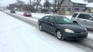 Snow covers Idylwyld Drive, creating slippery conditions for drivers. (Laura Woodward/CTV Saskatoon)