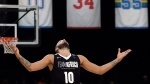 Team Africa's Evan Fournier reacts after a play against Team World during the NBA Africa Game between Team Africa and Team World, at the Sun Arena in Pretoria, South Africa, Saturday, Aug. 4, 2018. (AP Photo/Themba Hadebe)