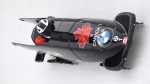 Driver Justin Kripps, front, and brakeman Cameron Stones, of Canada, round a curve during the men's bobsled World Cup, Friday, Feb. 15, 2019, in Lake Placid, N.Y. Kripps and Stones finished third. (AP Photo/Hans Pennink)