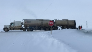 A tanker involved in a collision near Fort Saskatchewan Sunday morning appeared to have sustained fire damage. RCMP and HAZMAT crews were on scene.