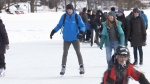 Skating along Rideau Canal at Dow's Lake