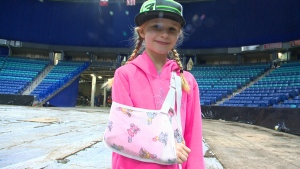 Taylor Dunser, 7, is recovering after losing control of her dirt bike and crashing into stands at SaskTel Centre. (Slavo Kutas/CTV Saskatoon)