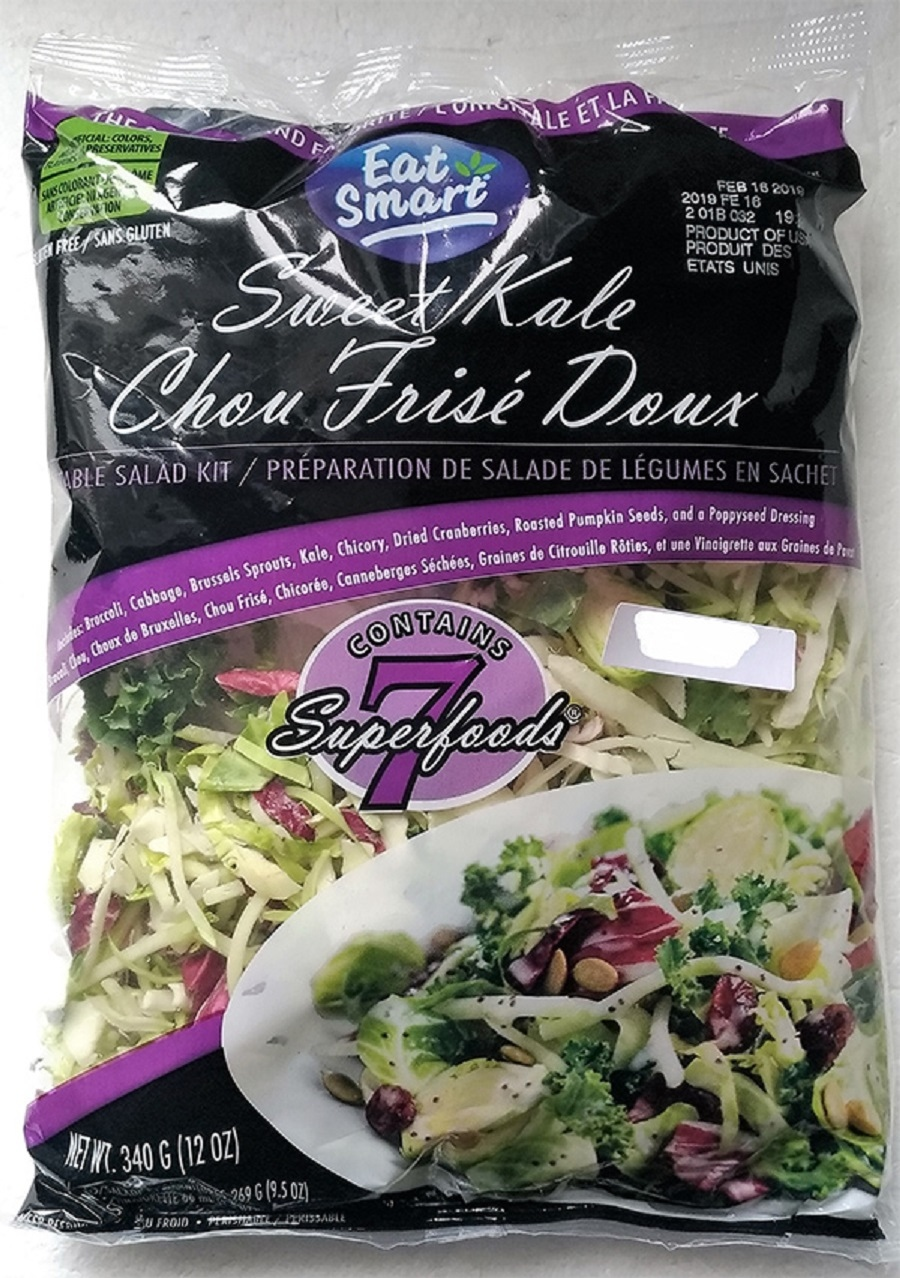 Eat Smart: Sweet Kale Vegetable Salad 340 G (12oz.) Bag Kits are being recalled for possible Listeria contamination. (CFIA)