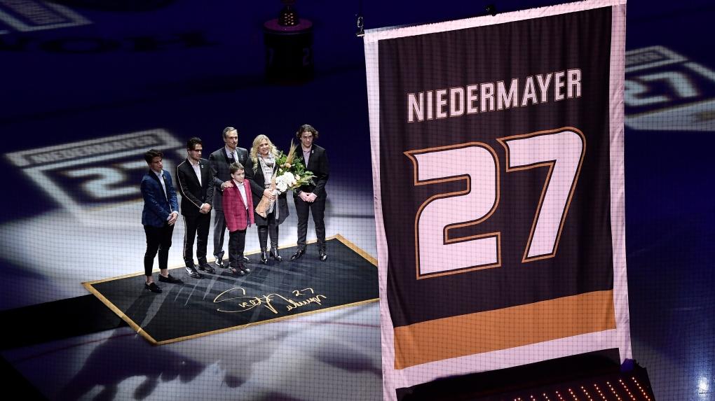 8bfb16bb8d4 Ducks retire Hall of Fame defenceman Niedermayer's No. 27. ducks. Former Anaheim  Ducks defenseman Scott ...