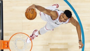Team Giannis' Giannis Antetokounmpo, of the Milwaukee Bucks heads to the hoop against Team LeBron during the first half of an NBA All-Star basketball game, Sunday, Feb. 17, 2019, in Charlotte, N.C. The Team LeBron won 178-164. (AP Photo/Bob Donnan, Pool)