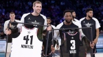 Team Giannis' Dirk Nowitzki, of the Dallas Mavericks, and Team LeBron's Dwyane Wade, of the Miami Heat, are given jerseys during the second half of an NBA All-Star basketball game, Sunday, Feb. 17, 2019, in Charlotte, N.C. The Team LeBron won 178-164. (AP Photo/Chuck Burton)