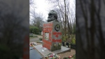Karl Marx's defaced tomb is seen in London's Highgate Cemetery in this Feb. 16, 2019, Twitter photo. (Highgate Cemetery/Twitter)