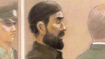 Co-accused Raed Jaser is shown in court in Toronto on April 23, 2013 in an artist's sketch. (THE CANADIAN PRESS/John Mantha)